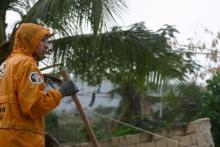 atividades de limpeza durante a curta estação chuvosa, em meados de abril de 2010.